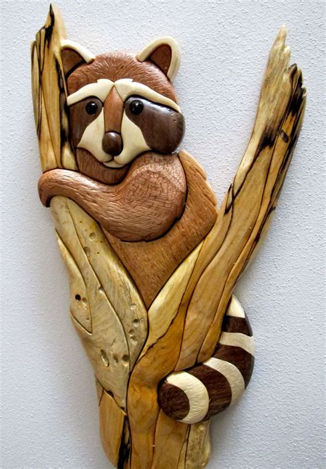 Racoon intarsia woodworking plans Image