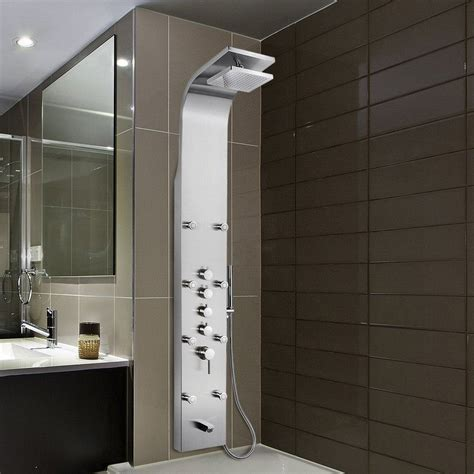 Rainfall Waterfall Stainless Steel Volume Control Fixed Shower Head Panel with Handheld Wand