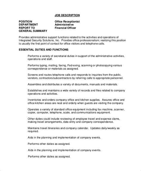 Resume Job Descriptions Receptionist | Academic Physician Cv