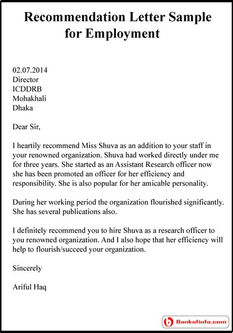 Re mendation Letter For Best Employee Award Nomination
