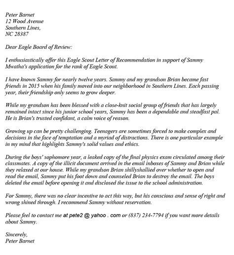 Eagle Scout Reference Letter Example.Reference Letter Eagle Scout Resume For Grad School