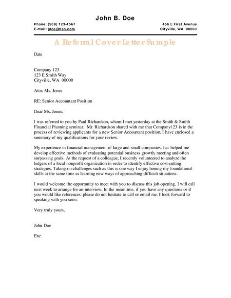 Referral Cover Letter Sample By Friend | Best Resumes For ...