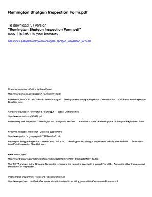 Remington 870 Inspection Checklist