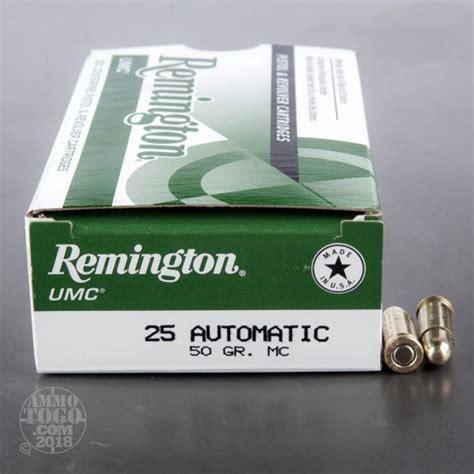 Remington Umc Ammo 25 Acp 50gr Fmj 25 Auto 50gr Full Metal Jacket 50box