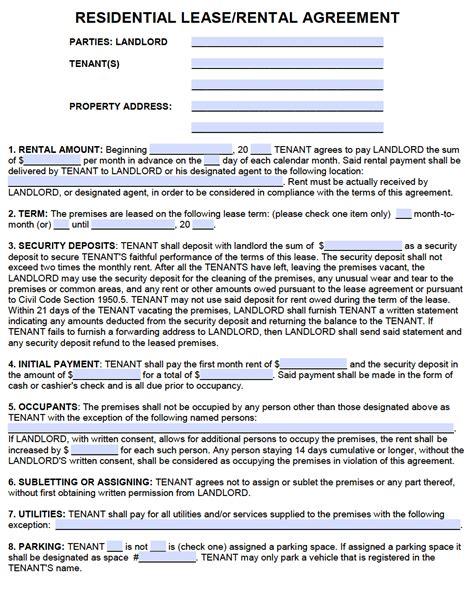 Rental Agreement Form California Pdf Resume Samples