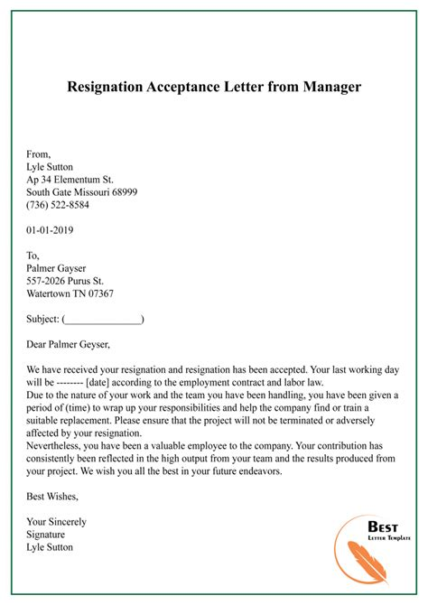 Resignation Acceptance Letter Format In Hp | Writing A ...