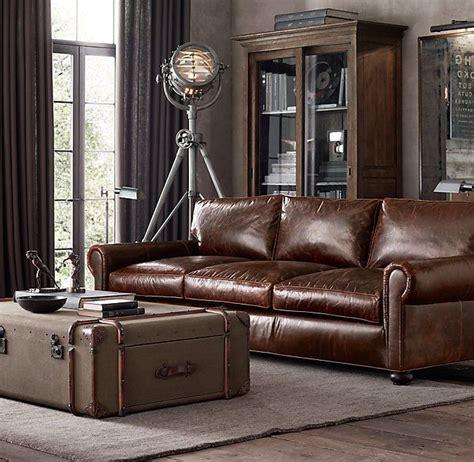 Restoration Hardware Leather Living Room