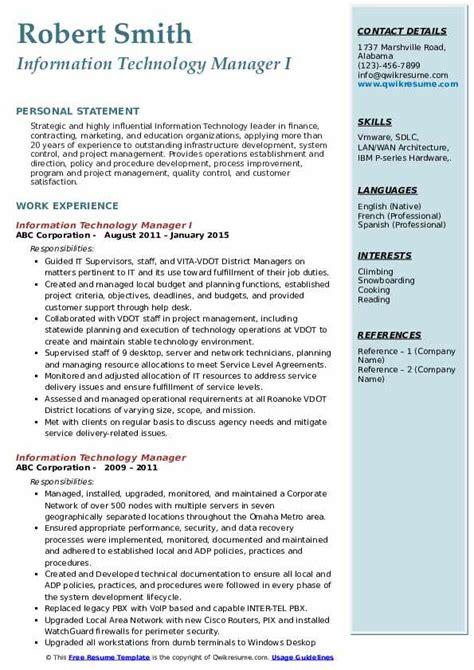 Resume Cover Letter Information Technology Manager   Resume ...