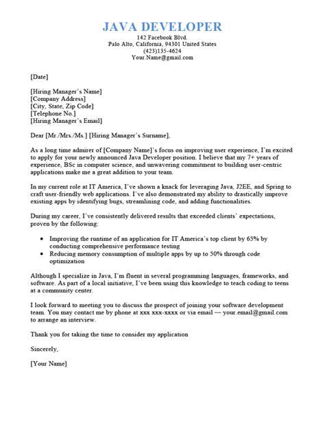 Resume Cover Letter Sample For Java Developer | Cover Letter ...