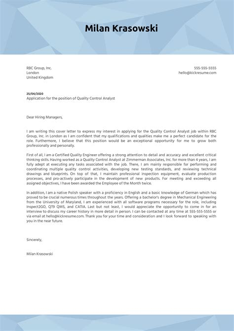 Resume Cover Letter Quality Assurance | Resume Outline ...