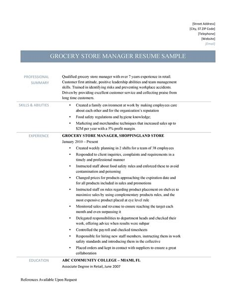 Resume Example For Cashier At Grocery Store | Sample Of ...