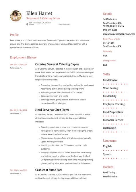 Resume Examples For Restaurant Jobs Job Application Letter