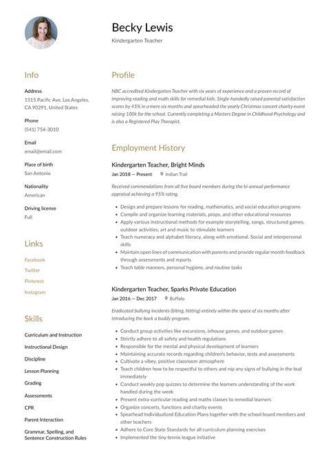 Resume For Kindergarten Teachers Examples Business Letter
