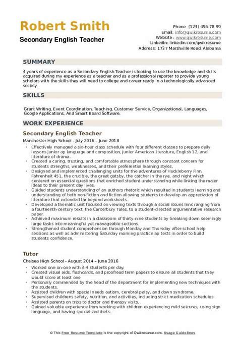 Resume For Teachers In English Recommendation Letter