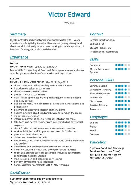 Resume For Waiter Internal Job Cover Letter Sample