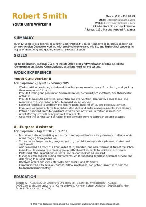 Resume For Youth Care Worker | Resume Format 2015 Free Download