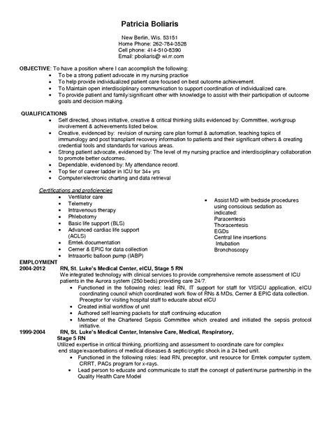 Resume Job Description For Icu Nurse   Employment ...