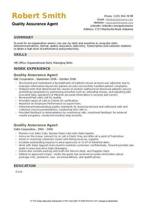 Resume Objective Examples Quality Assurance Personal