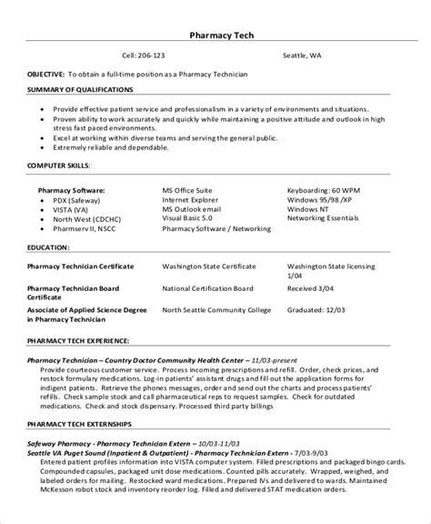 Pharmacy Technician Resume Objective Examples Hospital