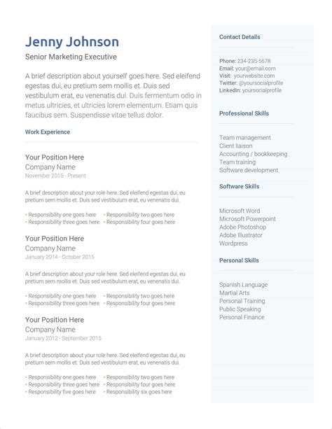 Resume Outlines Examples CV Templates Download Free CV Templates [optimizareseo.online]