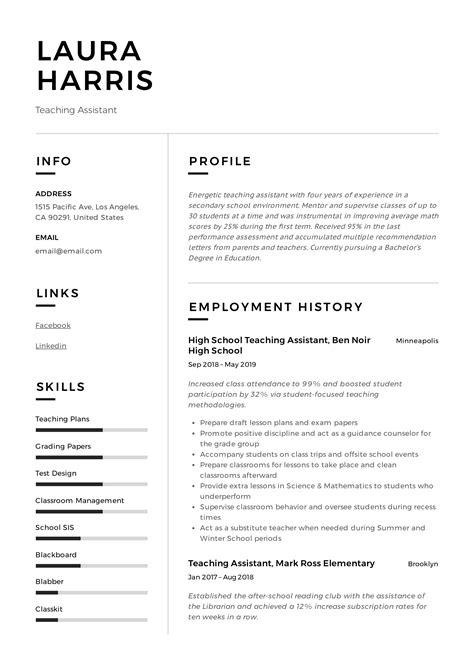 Resume Sample Of Teacher Assistant Reference Letter Sample For