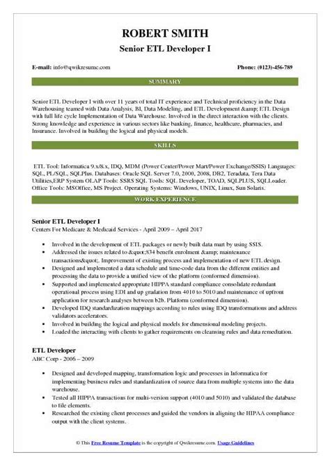 Resume Senior Etl Developer | Curriculum Vitae Word ...