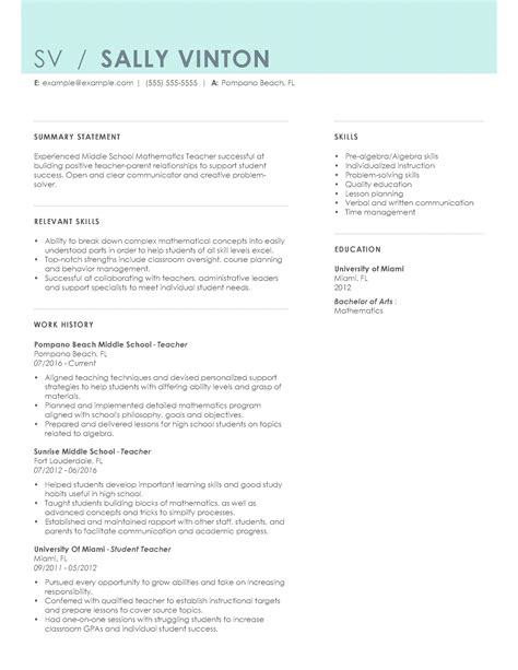 Resume Student Teaching Examples Certified Professional Resume
