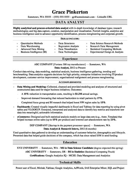 Resume Summary Examples Data Analyst Example Resume Cv