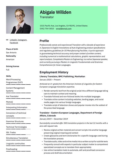 Resume Translation To English Pharmaceutical Industry Resume