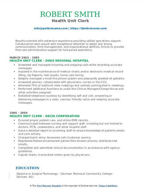 Resume Unit Clerk Hospital | How To Make A Job Resume Samples