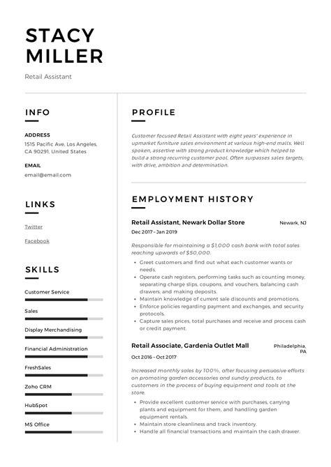 Retail Resumes Examples | Good Resume Sample Pdf