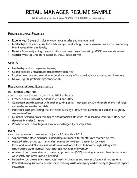 Assistant Manager Resume Sample Resume Store Department