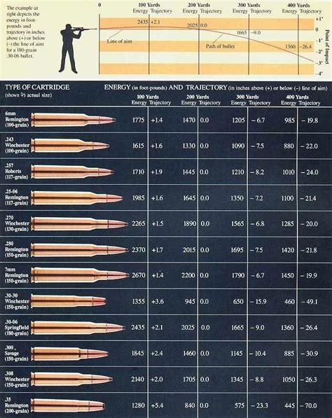 Rifle Ammo Drop Chart