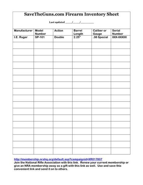 Rifle Shotgun Firearms Inventory Sheet