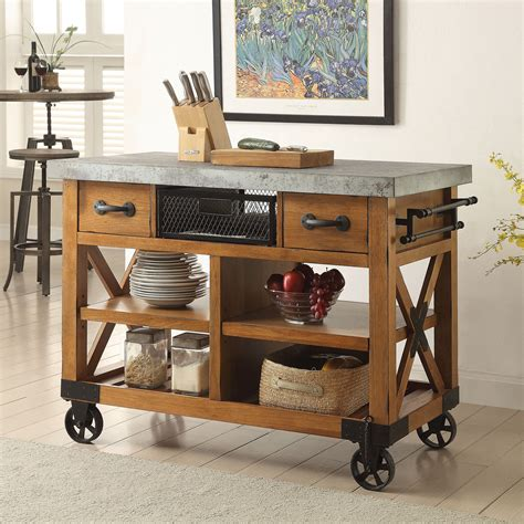 Rolling kitchen island with drawers Image