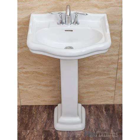 "Roosevelt Vitreous China 22"" Pedestal Bathroom Sink with Overflow"