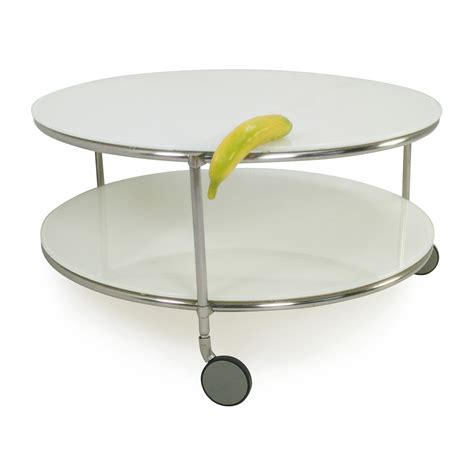 Round Glass Coffee Table On Wheels Image