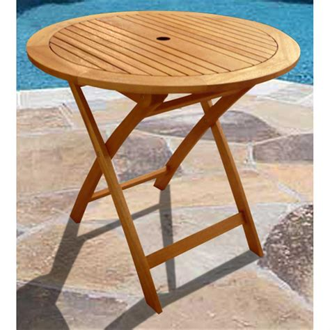 Round patio table wood Image