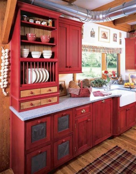 Rustic Red Painted Kitchen Cabinets