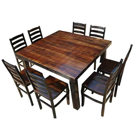 Rustic square dining table for 8 Image
