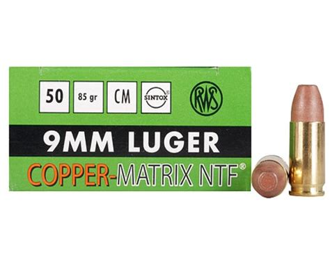 Rws Coppermatrix 9mm Luger 85gr Non Toxic Frangible Handgun Ammo