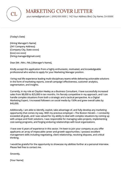 Cover Letter Online Marketing Position Sample Professional