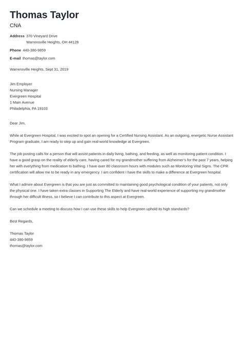 Sample Cna Resume Cover Letter   Jobs For Cleaning Lady