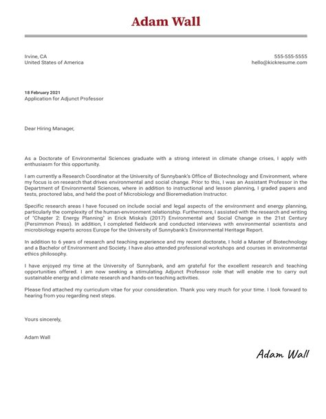 Sample Cover Letter For Adjunct Instructor   Resume ...