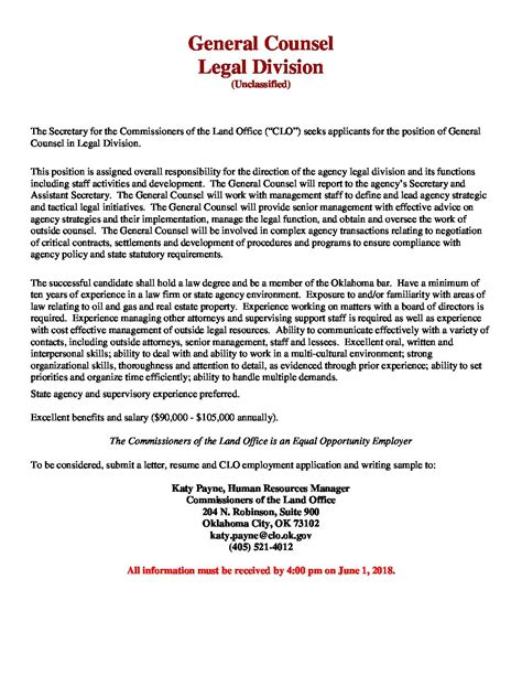 Sample Cover Letter For Resume General Counsel Position ...