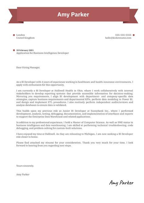 Sample Cover Letter Business Intelligence Developer | Free ...