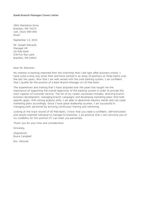 Cover Letter For Job Application Branch Manager | Resume ...