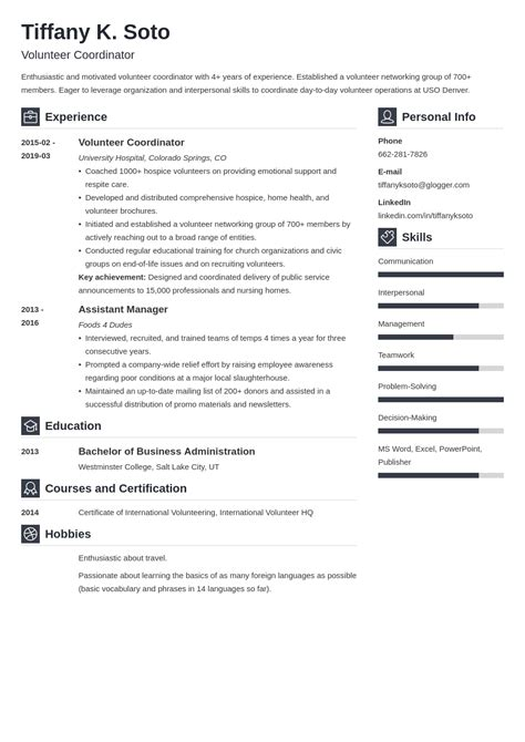 Sample Cover Letter Volunteer Coordinator | Specifications ...