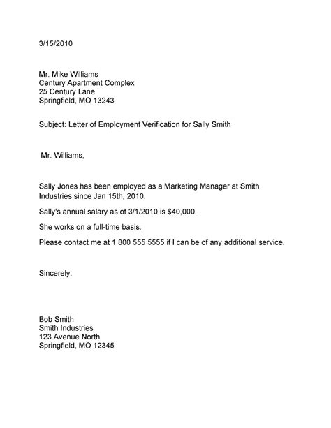 Sample Employment Verification Letter For Food Stamps