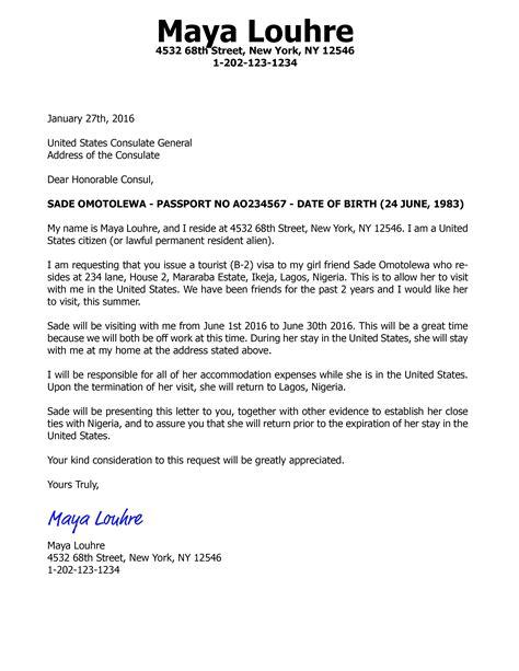 Sample Visa Invitation Letter For B2 Visa Parents | Cv Template No